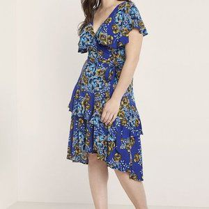 Eloquii Printed Ruffle Wrap Dress